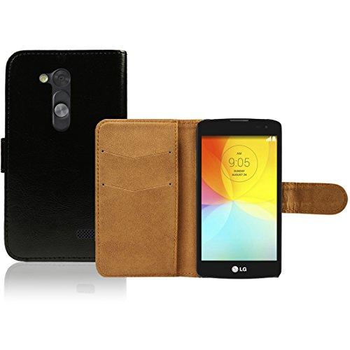LG L Fino D290N D295 Premium Leder Flip Case - Schwarz Pu Leder SchutzHülle Brieftasche Case Für LG L Fino D290N D295 - thinkmobile