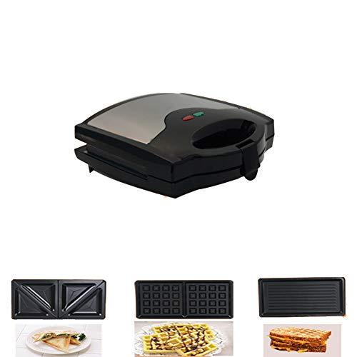 Macchina per waffle, Macchina per muffin Macchina per panini 3 in 1 Staccabile Lavabile Rivestimento antiaderente Luci di indicatore led-nero 25x25x20cm(10x10x8inch)