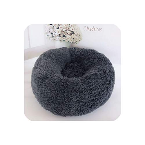 Eternity Bliss Pet Dog Cat Calming Bed Round Nest Warm Soft Plush Comfortable for Sleeping Winter,Light Coffee,2