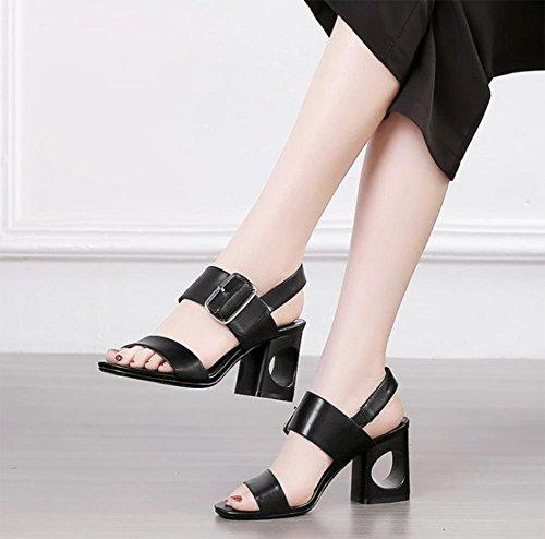 Palavra Alto Cingulado Sapatos Grossos Sapatos De Sandálias Verão Aberta Com Femininos Salto Pretos qBIHPxd