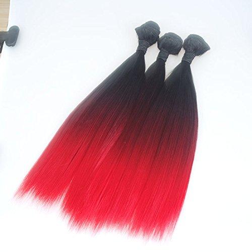 Trois couleurs ombre cheveux synthétiques ombre dégradé rouge Rideau rouge longue ligne droite du fil dégradé femelle haute température,20 inch