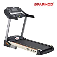 Sparnod Fitness STH-5000 (5 HP Peak) Automatic Treadmill (Free Installation Service) – Foldable Motorized Treadmill for Home Use