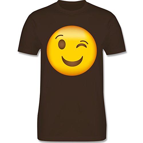 Shirtracer Comic Shirts - Zwinker Emoji - Herren T-Shirt Rundhals Braun