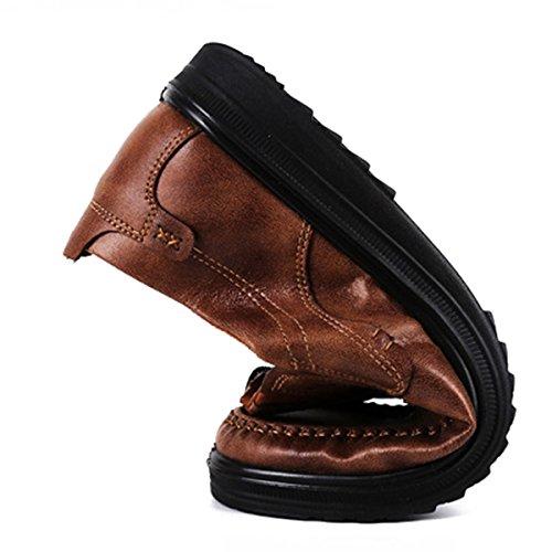 Gracosy Mocassini Casual da Uomo Scarpe da Lavoro Smart Classico Ufficio Comfort Mocassini in Pelle Slip On Traspirante Casuale Scarpe Piatte Loafers Mocassini Scarpe Marrone 2