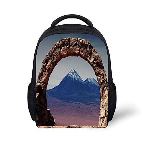 Big Blue Arch (Kids School Backpack Volcano,South American Desert Landscape with Mountains Seen from Stone Arch Decorative,Light Pink Navy Blue Brown Plain Bookbag Travel Daypack)