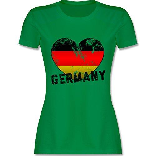 EM 2016 Frankreich Germany Herz Vintage tailliertes Premium TShirt mit  Rundhalsausschnitt für Damen Grün