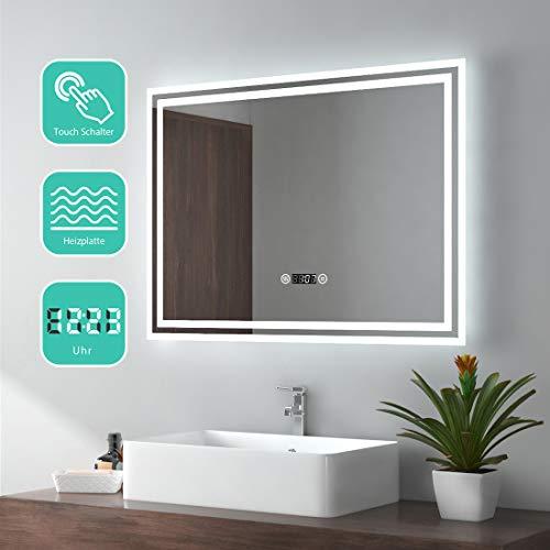EMKE Espejo de Baño Espejo de baño Espejo LED Espejo de Pared con Interruptor Táctil+Antivaho+Reloj...