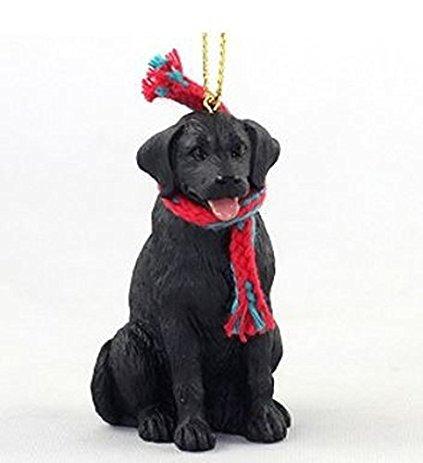 Conversation Concepts Labrador Retriever (Schwarz) mit Schal Weihnachten Ornament (groß 7,6cm Version) Hund -