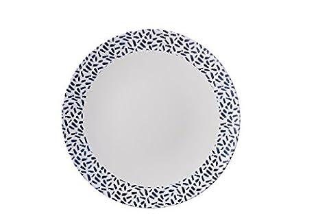 Blanc Et Motif Dash Marine française–Assiette–Gamme Mix & Match–Élégant, léger et durable en mélamine pique-nique/barbecue/buffet extérieur Assiette plate–26cm