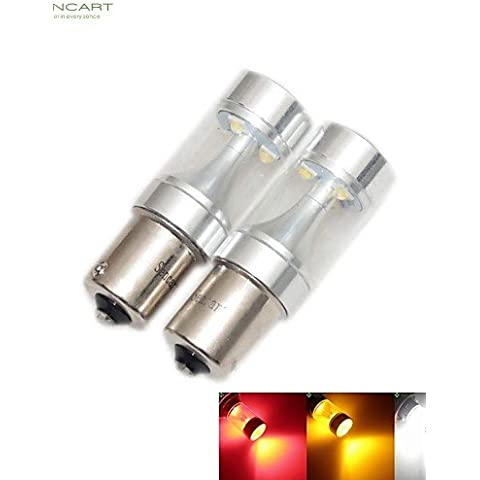 LIROOT2 x 1156 P21W Ba15s 30W 6x Bianco / Rosso / Giallo / Bianco freddo 2100LM 6500K per auto luce freno lampada retromarcia 12-24V , rosso