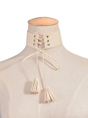 Ularma Gesäumt Halskette Klassische Gotische Samt Kette Spitze (Beige) (Gesäumt Spitze)