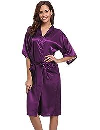 8719e58832 Aibrou Women s Kimono Robe Long Dressing Gowns Classic Satin Silk Wedding  Bridal Bathrobes Nightwear