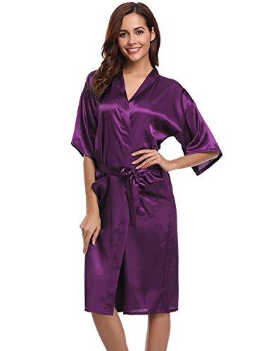 Aibrou Damen Satin Morgenmantel Kimono Lang Bademantel Schlafanzug Negligee Nachthemd Nachtwäsche Unterwäsche V Ausschnitt Mit Gürtel, Gr. L, Farbe: Violett (Nachthemd Nachtwäsche)