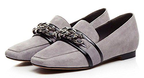 SHIXR Femmes Chaussures Court Printemps Nouvelles Chaussures En Cuir Chaussures Décontractées Bas-Talons Chaussures Carrées Chaussures Occasionnels Chaussures gris