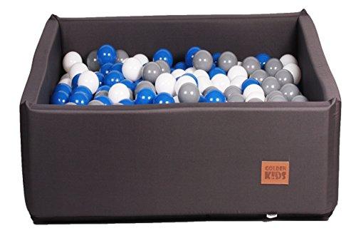 Bällebad Bällepool Bällebecken Spielbälle Kugelbad Bällchenbad Spielbecken Golden Kids Ball Bällepool TÜV zertifiziert (120x120x40 mit 500 Bällen, Anthrazit)