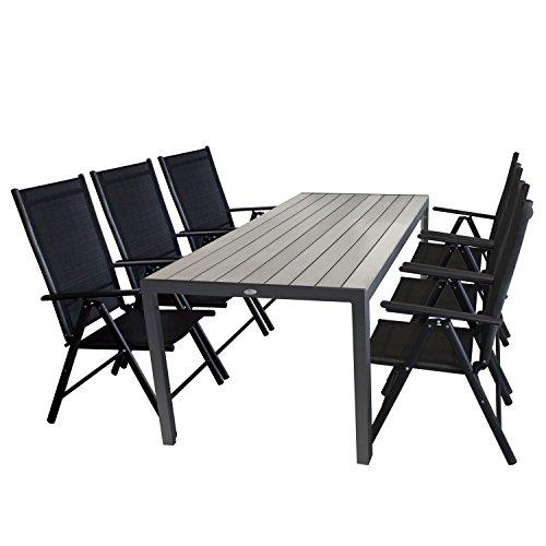7tlg. Gartengarnitur Aluminium Gartentisch, Tischplatte Polywood grau, 205x90cm + 6x Aluminium Hochlehner, Textilenbespannung, Rückenlehne in 7 Positionen verstellbar, schwarz - Gartenmöbel Set Sitzgarnitur Sitzgruppe