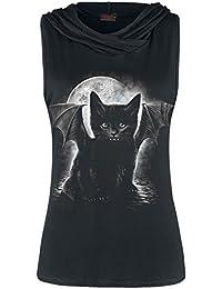 Spiral Bat Cat Top Femme noir