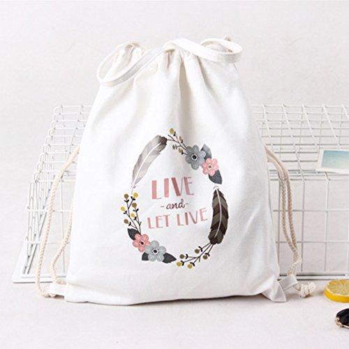 Imagen de laat drawstring– funda de impresión cartoon lienzo algodón portátil cinch saco bolsa de deporte–bolso bandolera para hombres y mujeres alternativa
