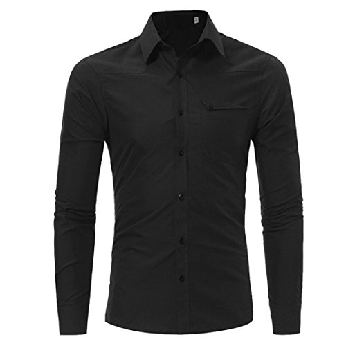 Moda Mens Slim fit casual shirt t-shirt manica lunga t-shirts Top,Yanhoo® Fashion Semplice Classico polo Uomo manica lunga Slim Fit Maglie a poloshirt Polo in Maniche Lunghe Nero