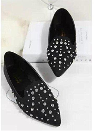 LDMB Die beiläufigen bereiften Rhinestonesschuhe der Frauen zeigten flache Ferse der einzelnen Schuhe Black
