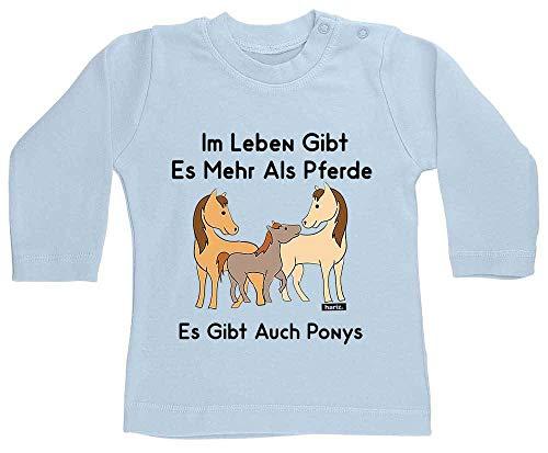 HARIZ Baby Shirt Langarm Im Leben Gibt Es Mehr Als Pferde Es Gibt Auch Ponys Tiere Zoo Inkl. Geschenk Karte Himmel Hell Blau 18-24 Monate (Himmel Kostüm Gibt)