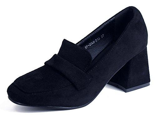 AgeeMi Shoes Damen Slip on Quadratisch Zehe Wildleder Classi Blockabsatz Pumps,EuD47 Schwarz 37