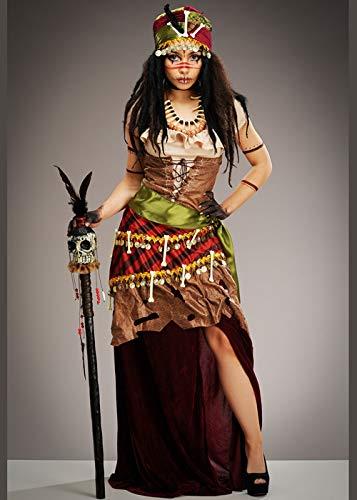 Voodoo Kostüm Priesterin - Magic Box Int. Halloween Deluxe Voodoo Priesterin Kostüm für Damen Small (UK 8-10)