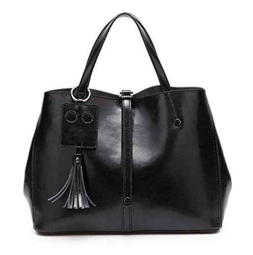 XinMaoYuan borsette in cuoio in autunno e inverno spalla cera olio Borsa in pelle colore solido Sezione trasversale Zip Tote Bag,grigio Nero