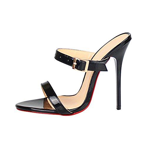 OCHENTA Damen Pantolette Plateau Stiletto Schnalle mit Hohen Absätzen-13CM Schwarz EU 41 (Schuheleiste 27.1cm) (Pantoletten Heels)