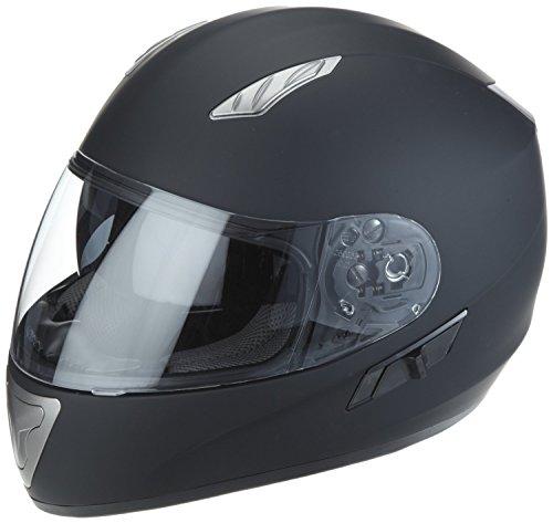 Protectwear H520-ES-S Motorradhelm, Integralhelm mit Integrierter Sonnenblende, Größe S, Schwarz-Matt