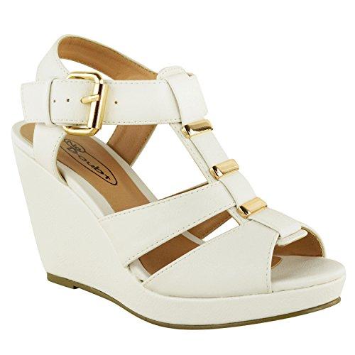 Sandali da Donna a Zeppa con Cinturino Punta Aperta Tacco Alto Medio Basso Bianco Similpelle
