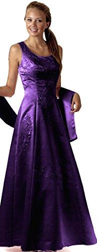 Abendkleid festlich lang Brautmutterkleid Brautjungfernkleid Ballkleid A-Linie breite Träger bodenlang XXL große Größen Satin (Seiden-chiffon-kleid Geraffte)
