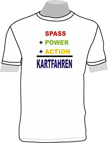 Spaß + Power + Action = Kartfahren; Kinder T-Shirt weiß, Gr. 9-11