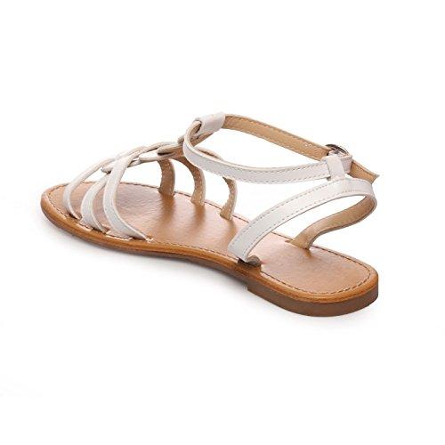 La Modeuse Sandales Plates Femme Blanc