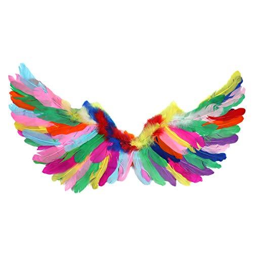 Freebily Bunte Vogel Flügel Papagei Federn Faltbare Fee Engel Federflügel für Kinder Erwachsene Fotografie Maskerade Halloween Cosplay Party Kostüm Zubehör Bunt Small