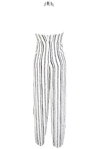 Cfanny - Combinaison - Droit - À Rayures - Sans Manche - Femme Large Blanc
