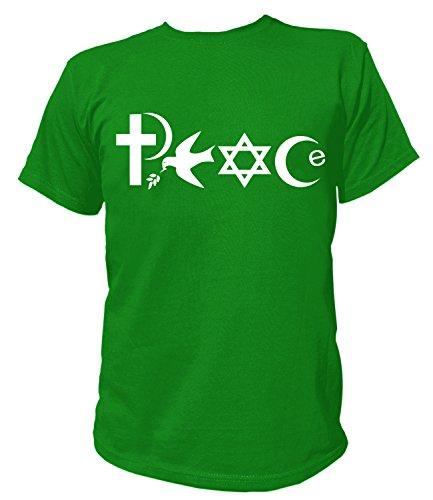 Artdiktat Herren T-Shirt - PEACE - WORLD RELIGIONS Größe XXXL grün