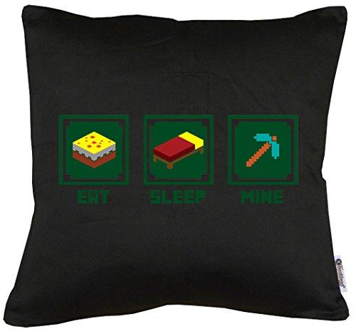 TLM Eat Sleep Mine Kissen mit Füllung (Super Mario Für Halloween Kostüme Hunde)