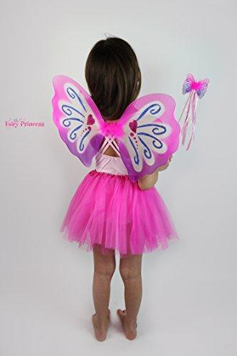 Fairy Princess SUGAR PLUM Fairy - Pink Purple Fairy Wings, Wand and Tulle Tutu (Pink Skirt) Sugar Plum Fairy Wings