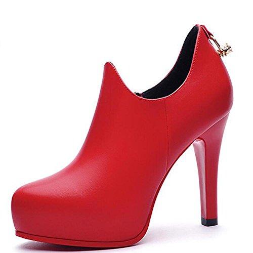 L@YC Donne tacco alto a spillo primavera e in autunno in pelle selvaggio signore scarpe a punta nero rosso Red