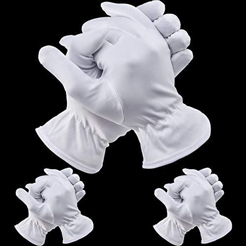 Kostüm Paare Von 3 - 3 Paare Halloween Vollfinger Handschuhe Kostüm Zubehör für Halloween Party (Kurz Weiß, Erwachsene Damen)