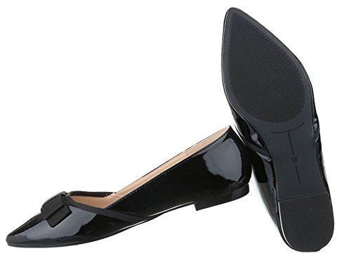 Damen Ballerinas Schuhe Flats Slipper Pumps Slip On Weiß Schwarz Gold Silber 36 37 38 39 40 41 Schwarz