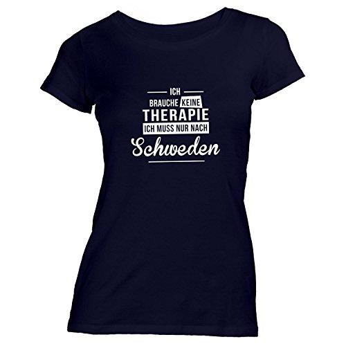 Monkiez Damen T-Shirt - Ich Brauche Keine Therapie Schweden - Therapy Urlaub Sweden, Schwarz, XL