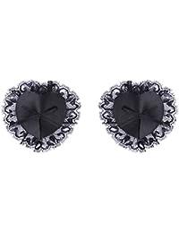 BESTOYARD Pezoneras de Adhesiva Encaje Negro en Forma de Corazón Desechables Tamaño Libre para Juguete de Parejas y Amantes 1 Par