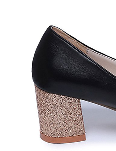 GS~LY Damen-High Heels-Büro / Kleid-PU-Blockabsatz-Rundeschuh-Schwarz / Silber / Gold black-us6.5-7 / eu37 / uk4.5-5 / cn37