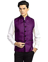 Vastraa Fusion Men's Chequered Blended Festive Nehru Jacket/Waistcoat - Available in Multiple Colour and Size Options