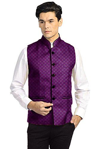 Vastraa Fusion Men's Chequered Blended Festive Purple Nehru Jacket / Waistcoat -...