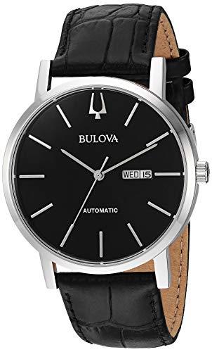 Bulova Reloj de Hombre automático Correa de Cuero Caja de Acero 96C131