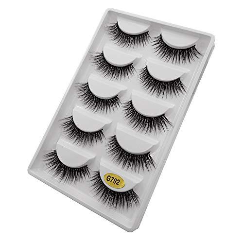 5 Paar 3D Natürliche Dicke Falsche Gefälschte Wimpern Wimpern Makeup Extension (5 Paar,2C)