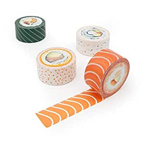 Areaware sushi decorativo carta Washi novità mascheratura adesivo set di 4nastri di qualità | Quirky & design carino, multicolore, 10m